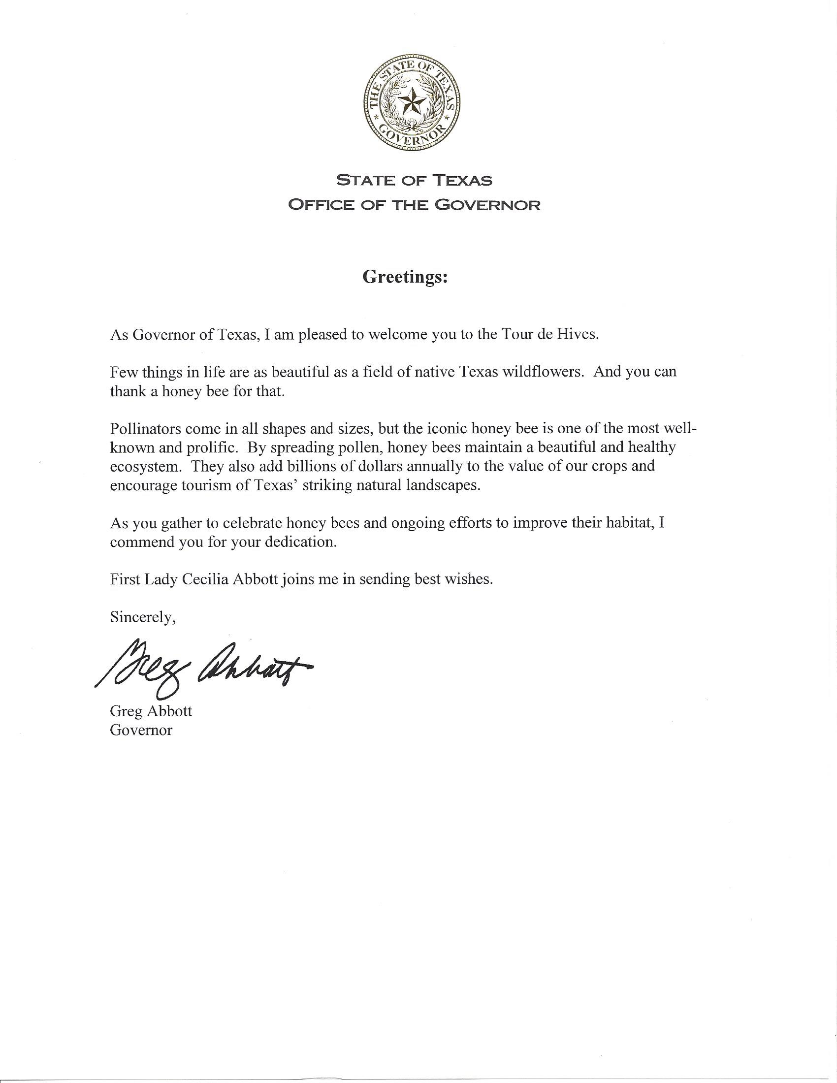 Welcome Letter From Governor Abbott For Tour De Hives  Travis